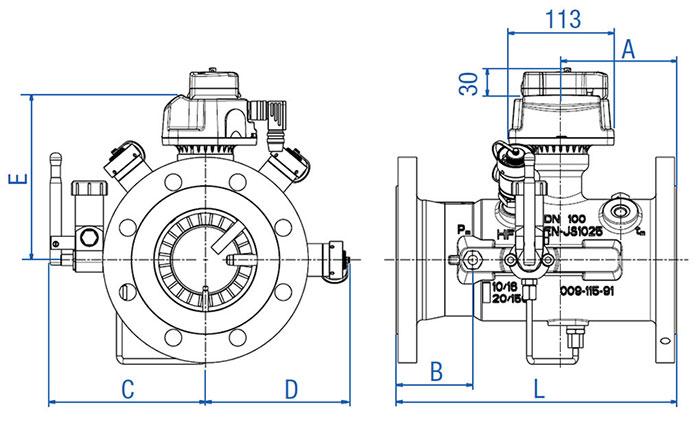 Габаритные размеры и вес турбинных счетчиков газа ТЗ